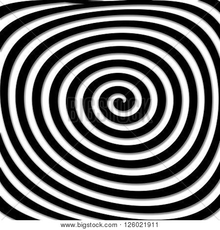 Skewed black hypnotic illustration very strange and hypno