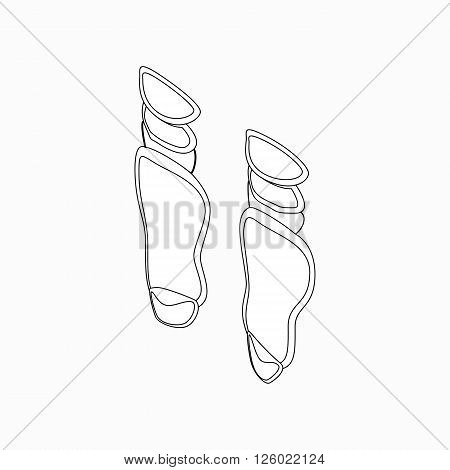 Baseball catcher leg guards icon in isometric 3d style on a white background