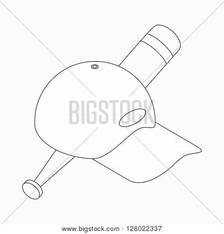 Baseball cap and baseball bat icon in isometric 3d style on a white background
