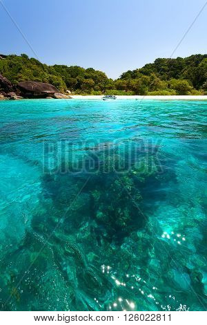 Transparent turquoise sea and a green island beach.