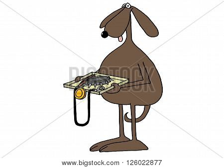 Illustration depicting a brown dog going through an airport security check and holding a tray with its leash, collar and tag.