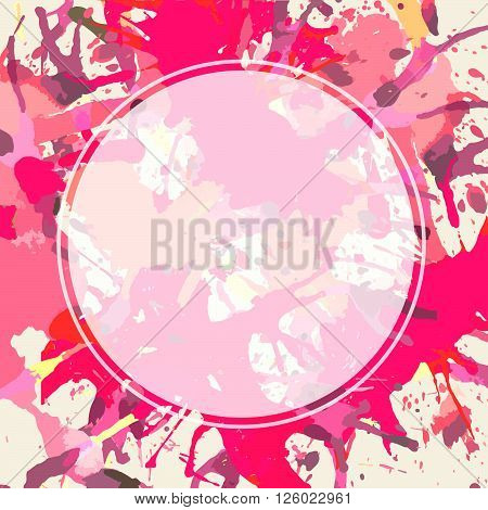 Template with semi-transparent white circle over bright pink colorful artistic paint splashes ready for your text.