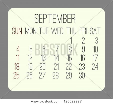 September 2016 vector monthly calendar. Week starting from Sunday. Beige rounded rectangle over gray background.