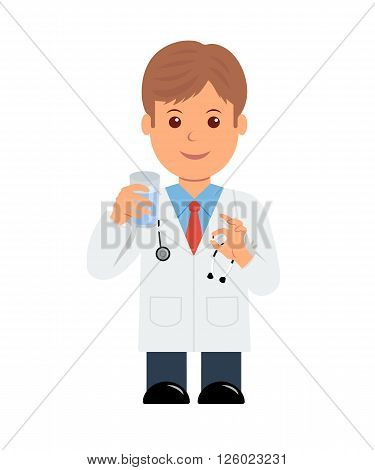 Doctor with pill and glass of water in hand. Isolated character male doctor giving a pill.