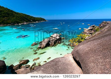 tropical bay with round stones and transparent turquoise water (Similansky islands).