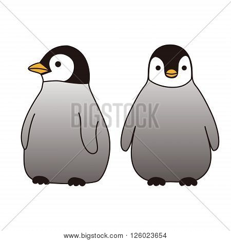 Two baby penguins standing together looking at different directions