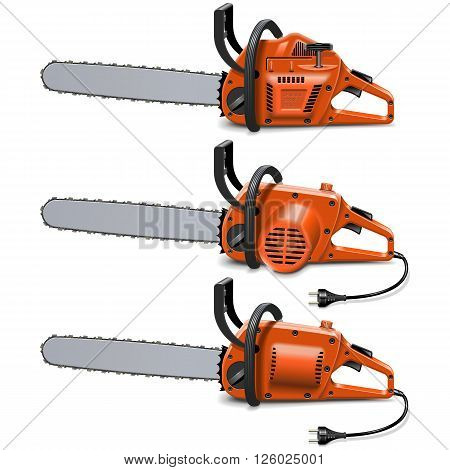 Vector Chain Saws isolated on white background