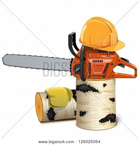 Vector Chainsaw with Helmet and Birch Firewood isolated on white background