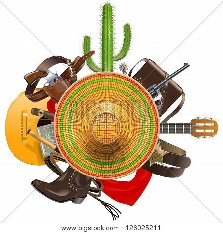 Vector Cowboy Concept with Sombrero isolated on white background