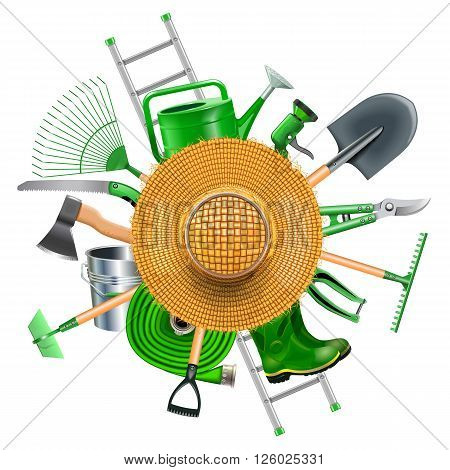 Vector Garden Accessories with Straw Hat isolated on white background
