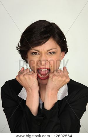 Portrait of a businesswoman upset