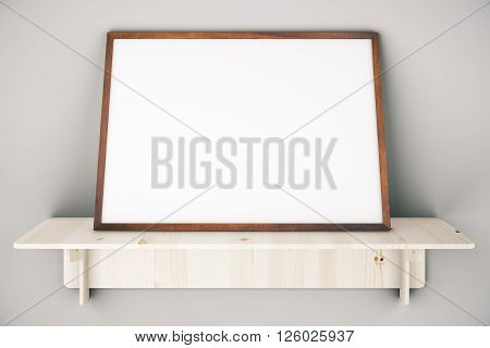 Wooden shelve with blank picture frame on grey wall. Mock up 3D Rendering