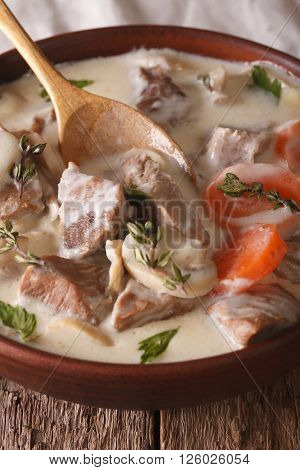 Blanquette De Veau Close Up In A Bowl. Vertical