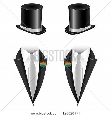 Vector illustration of gay homosexual couple marriage non-traditional sexual orientation