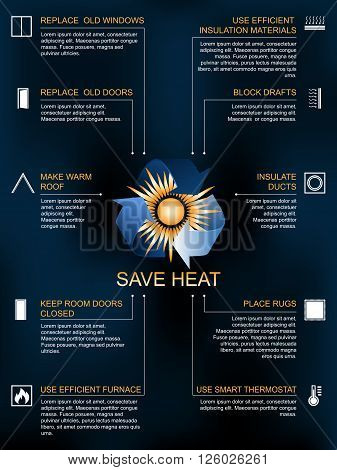 Save heat icon infographic ways and methods of heat saving in the house or flat