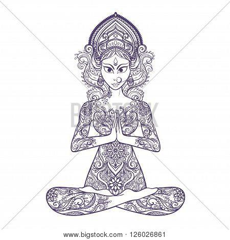 Ornament beautiful card with Vector yoga. Geometric element hand drawn. Balance karma. Design element for a yoga class or for a web site. Medallion, yoga, india, arabic,  harmony