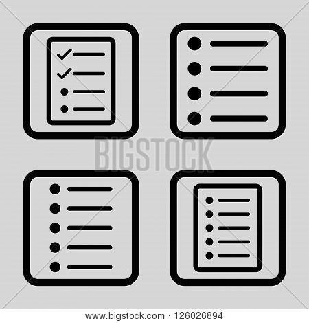 List Items vector icon. Image style is a flat icon symbol inside a square rounded frame, black color, light gray background.