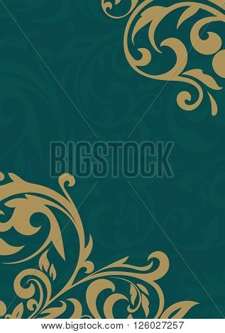 Golden vintage pattern on a green background. Beautiful card with a floral pattern. Beautiful pattern. Vector Illustration.