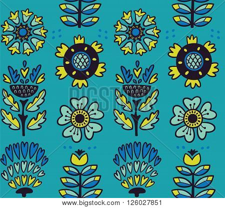 Awesome vector seamless patter of graphic leaves and flowers. Blue vector background. Bright illustration, can be used for creating card, invitation card for wedding, wallpaper and textile.