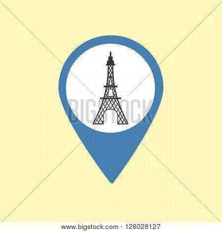 Sightseeing Pin. France Paris Icon. Vector illustration