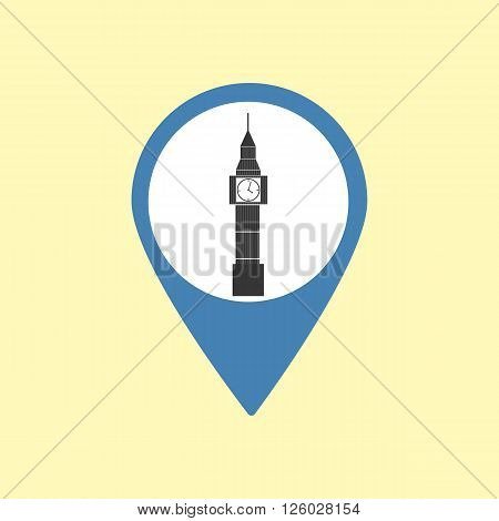 Sightseeing Pin. London Big Ben Icon. Vector illustration