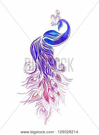 Colorful fashion card with peacock Color bird for the design of textiles, clothing, T-shirts, wallpaper, print, wall stickers. Decoration pattern. Seamless hand drawn map with peacock paisley oriental