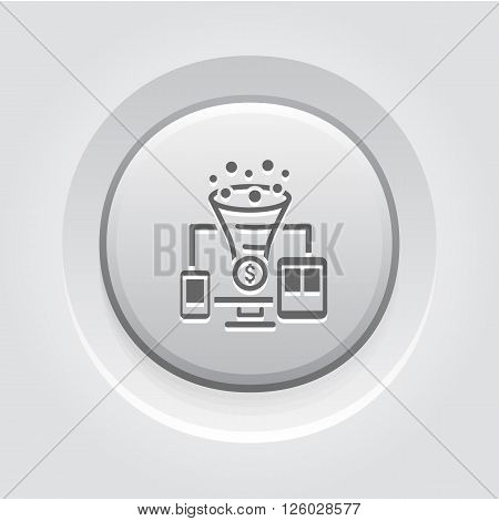 Conversion Rate Optimisation Icon. Business Concept.  Grey Button Design