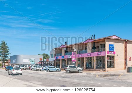 JEFFREYS BAY SOUTH AFRICA - FEBRUARY 28 2016: A street scene in Jeffreys Bay in the Eastern Cape Province of South Africa