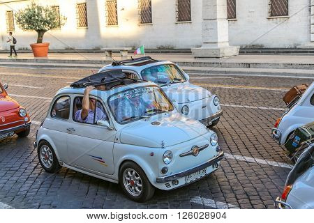 Vatican, Italy - June 26, 2014: old italian small cars, rally of vintage economy car Fiat 500