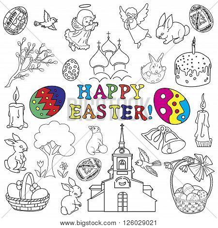 Easter traditional symbols collection - Easter eggs, Easter bunny, willow twigs, Easter basket, candles, Christian church, egg decorating. Vector drawings set isolated on white background.