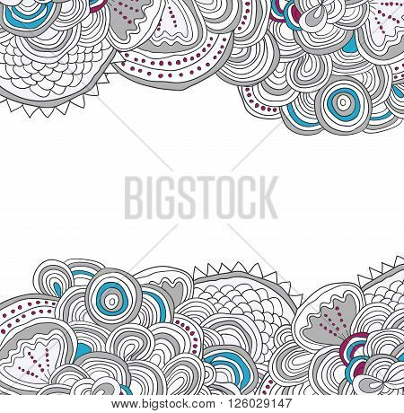 Vector colored hand drawn pattern. Up and down side tracery with white field between. Can be used as card, invitation, background.
