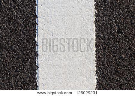 White Line On New Asphalt Road