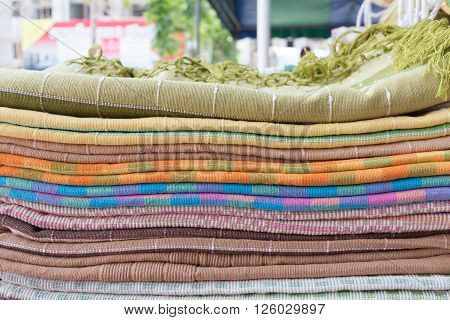 Heap Of Cloth Fabric In Retail Shop