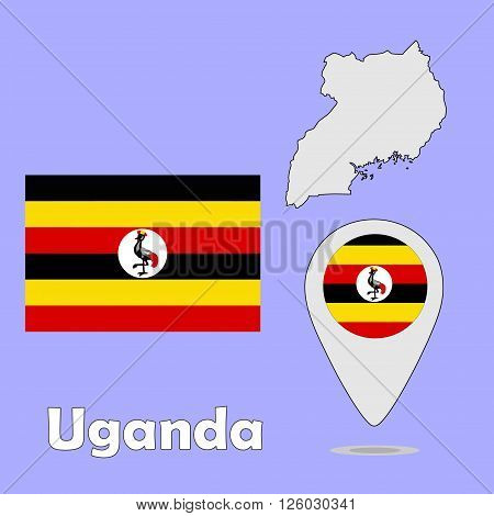 A pointer map and flag of Uganda