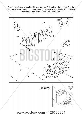Connect the dots picture puzzle and coloring page with box of colored pencils. Answer included.