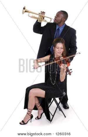 Two Musicians Tuning Up For A Concert 2