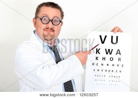 Portrait of a doctor with a visual acuity chart