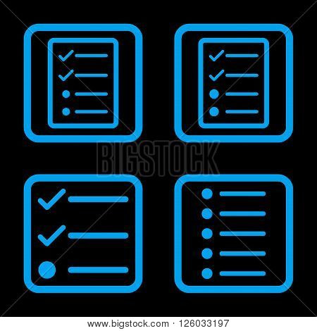 List Items vector icon. Image style is a flat icon symbol inside a square rounded frame, blue color, black background.