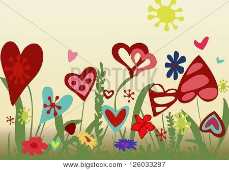 Floral arrangement from hearts on a yellow background