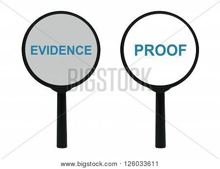Words Evidence and Proof under a magnifier isolated on white background