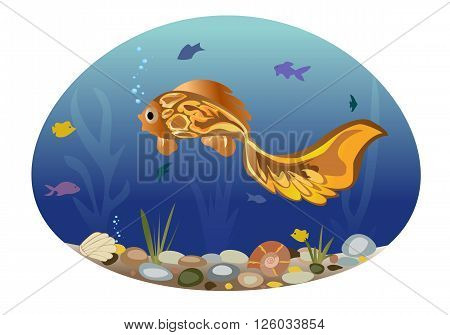 Sea landscape illustrating underwater life. All objects are grouped. Vector.