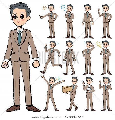 Set of various poses of Beige suit short hair man in hand painted