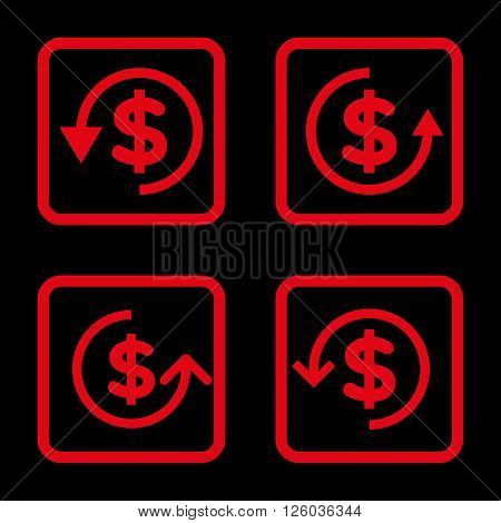 Refund vector icon. Image style is a flat icon symbol inside a square rounded frame, red color, black background.