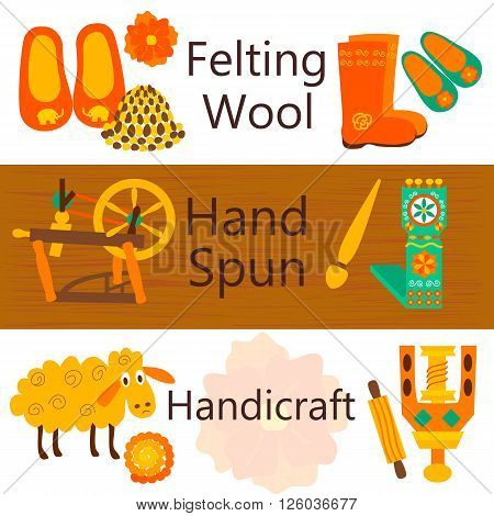 Handmade wool products colorful web banners. Vector illustration of items for felting wool and knitting.