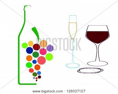 Set of wine glasses and bottles isolated on white background.Wine bottle colorful.Background with wine bottles and glasses.Bottles and glass silhouette vector.