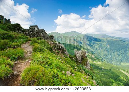Hiking path into the peak in Carpathian mountians