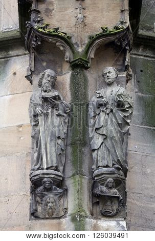 TUBINGEN, GERMANY - OCTOBER 21: Saint Paul and Saint Peter, Collegiate Church of St. George in Tubingen, Germany on October 21, 2014.