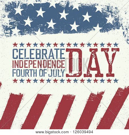 Independence Day Design template. Celebration greeting card of 4th july