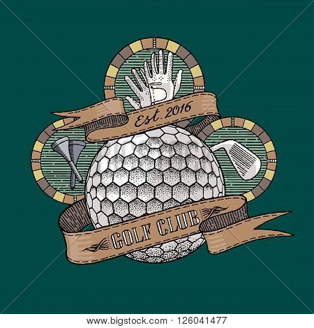 Golf club golf course vector logo. Golf illustration in vintage style
