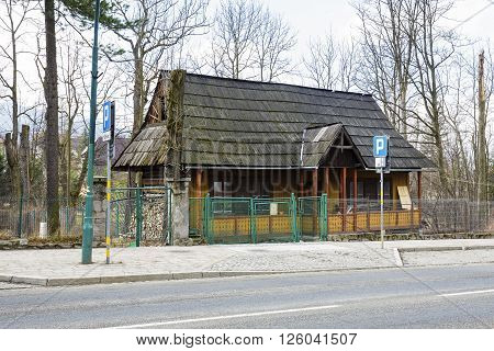 ZAKOPANE POLAND - MARCH 09 2016: residential building made of wood approx. 1890 located at Zamoyski street registered in municipal records of architectural monuments of the city
